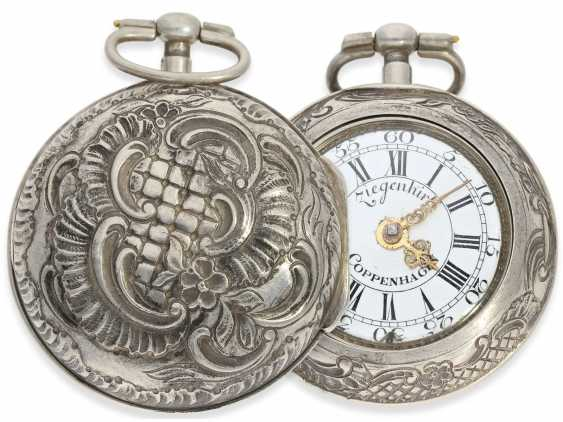 Pocket watch: exceptional and very rare, early German-Danish double case repoussé technology Spindeluhr to 1720, Ernst Nicolai goats Copenhagen No. 201,1 shepherd. Master in Copenhagen, originally from Uelzen, Northern Germany, native, recorded from 1692 - photo 1