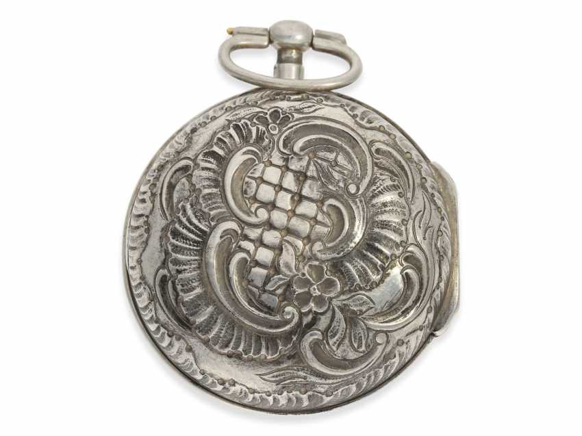 Pocket watch: exceptional and very rare, early German-Danish double case repoussé technology Spindeluhr to 1720, Ernst Nicolai goats Copenhagen No. 201,1 shepherd. Master in Copenhagen, originally from Uelzen, Northern Germany, native, recorded from 1692 - photo 3