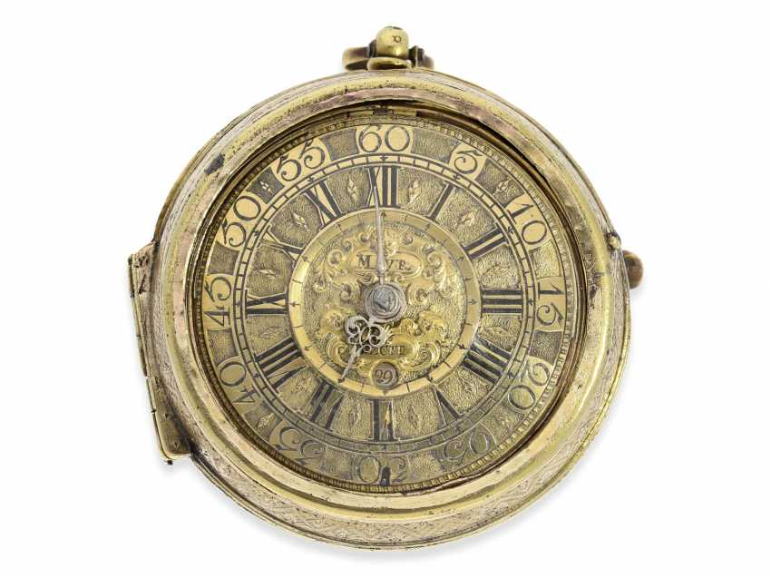 Pocket watch: rare, large German pocket watch, very well-known watchmakers, Jacob Mayr, Augsburg, No. 682, recorded 1672-1714 - photo 1