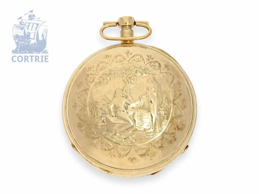 Pocket watch: unusual, large Vienna Percussion pocket watch with repoussé technology-case and the figure of automaton Jacquemart, Caspar Kaufmann in Vienna, around 1815 - photo 6