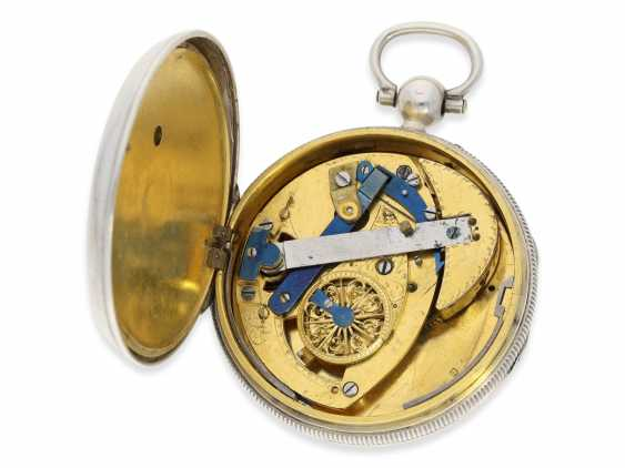 """Pocket watch: technical interesting Cylinder watch with centre seconds hand and self-winding, formerly part of the famous collection """"Sabrier"""", signed J. Ruegger No. 4981, Geneva, about 1800 - photo 3"""