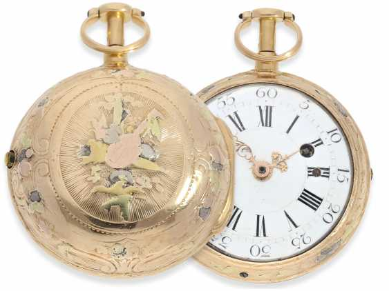 Pocket watch: early 4-colors-Gold-Spindeluhr with Repetition a toc, France, about 1760 - photo 1