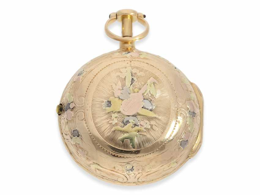 Pocket watch: early 4-colors-Gold-Spindeluhr with Repetition a toc, France, about 1760 - photo 2