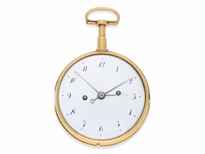 Pocket watch: extremely heavy and technically high-quality gold watch with repeater and alarm on a bell, Bourquin a Anvers, 1810 - photo 1