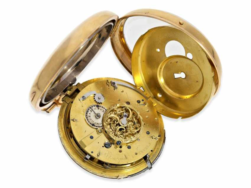 Pocket watch: extremely heavy and technically high-quality gold watch with repeater and alarm on a bell, Bourquin a Anvers, 1810 - photo 3
