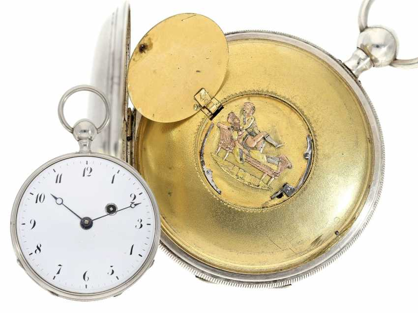 Pocket watch: very well-preserved, very fine French Percussion pocket watch with concealed erotic automaton, CA. 1820 - photo 1