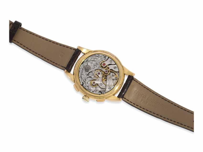Watch: very rare, large Longines Flyback Chronograph in 18K Gold, approx 1953 - photo 3
