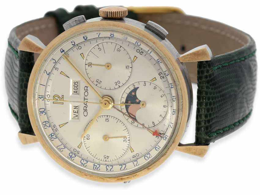 Watch: extremely rare vintage Chronograph with full calendar and moon phase, in the style of the Rolex 4768, Orator Valjoux 88 steel/Gold, CA. 1950's, near mint condition - photo 1