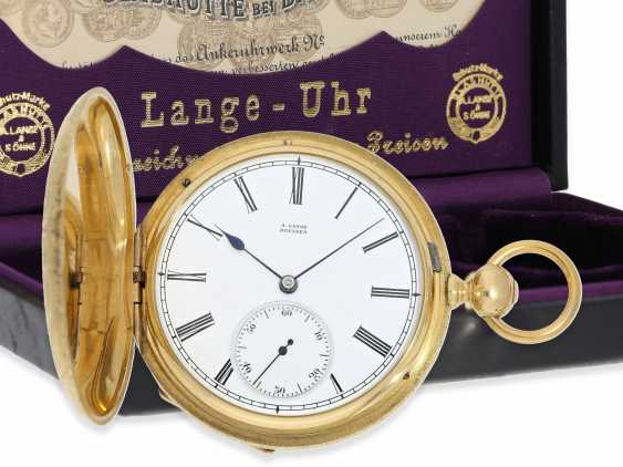 Pocket watch: Lange & Söhne rare, early, early, early Savonnette 1A with key-winding, No. 4490, Dresden 1863 - photo 1