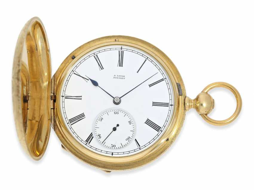 Pocket watch: Lange & Söhne rare, early, early, early Savonnette 1A with key-winding, No. 4490, Dresden 1863 - photo 2
