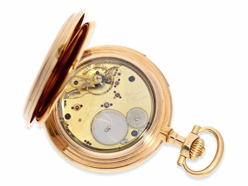 Pocket watch: important and extremely rare glashütte rose gold Savonnette minute repeater in quality 1A, Union Glashütte, No. 54606, CA. 1904 - photo 2