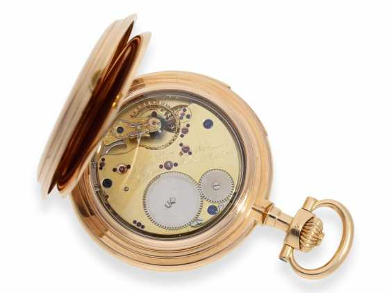 Pocket watch: important and extremely rare glashütte rose gold Savonnette minute repeater in quality 1A, Union Glashütte, No. 54606, CA. 1904 - photo 9