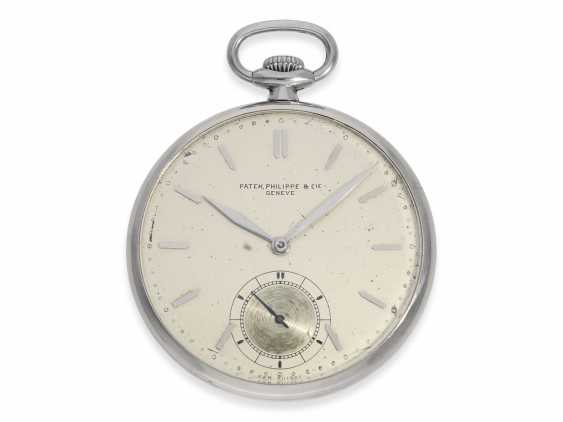 Pocket watch: extremely rare Patek Philippe pocket watch in original steel case, Geneva, 1930, with the master excerpt from the book - photo 1