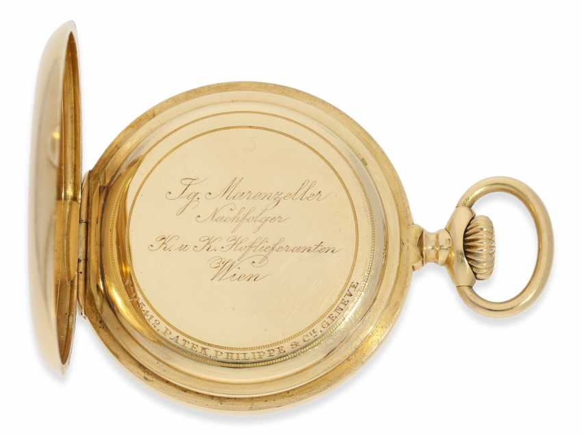 """Pocket watch: very fine, heavy, Patek Philippe Observatory Chronometer 1. Class quality """"EXTRA"""" with excellent test results of the Geneva Observatory, 1901, PP No. 115412 - photo 6"""