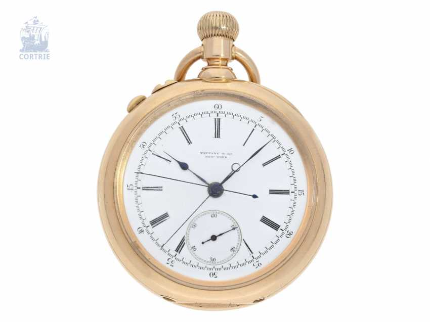 Pocket watch: very serious, very rare Patek Philippe split-seconds chronograph 1893, Anchor chronometer, delivered to Tiffany & co. New York - photo 1