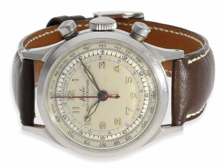 """Watch: extremely rare steel Chronograph with a Central counter, Mido """"Multi-center Chrono"""", CA. 1945 - photo 1"""