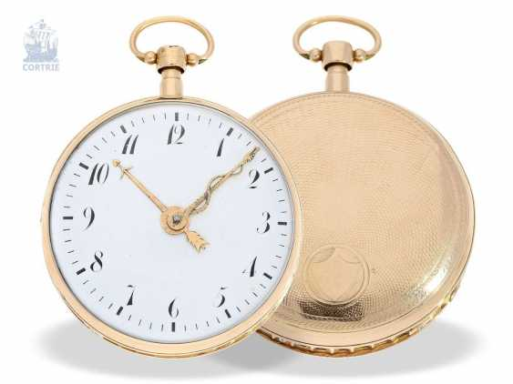 Pocket watch: big and heavy, red-gold pocket watch with Repetition and hourly release, especially rare music work, Henry Darlot, to 1820 - photo 1