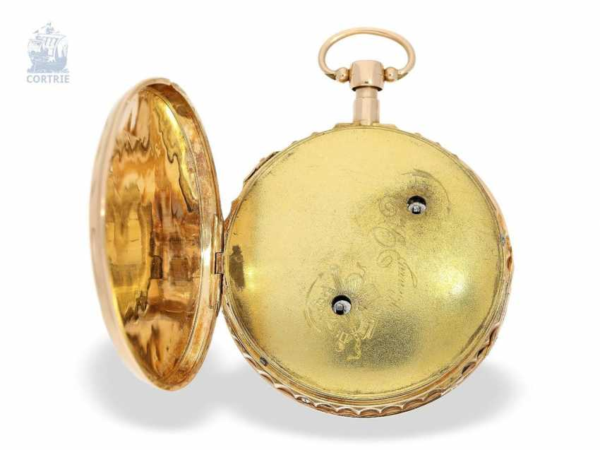 Pocket watch: big and heavy, red-gold pocket watch with Repetition and hourly release, especially rare music work, Henry Darlot, to 1820 - photo 4
