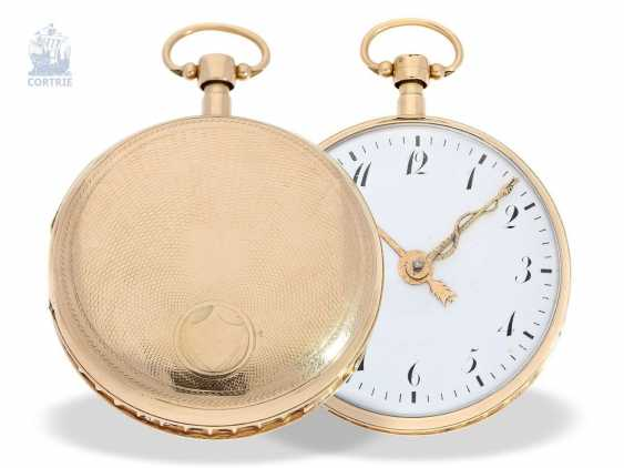 Pocket watch: big and heavy, red-gold pocket watch with Repetition and hourly release, especially rare music work, Henry Darlot, to 1820 - photo 6