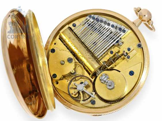 Pocket watch: technical rarity, pocket watch with extremely rare music work. Barillet type with roller, Geneva/Paris, around 1815 - photo 2