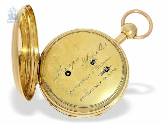 Pocket watch: unique and extremely rare Geneva pocket watch with Repetition and Music movement, Switzerland around 1820 - photo 3