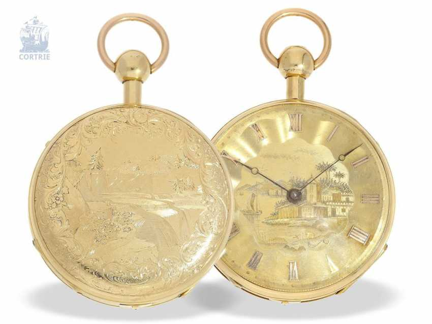 Pocket watch: unique and extremely rare Geneva pocket watch with Repetition and Music movement, Switzerland around 1820 - photo 4