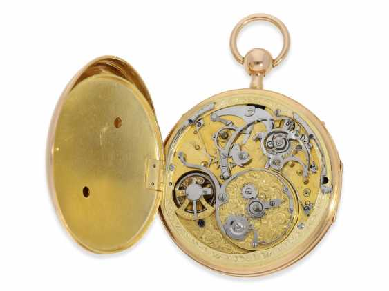 Pocket watch: a magnificent and very rare pocket watch with enamel painting, Repetition, and musical works, No. HC 15722, CA. 1820 - photo 3