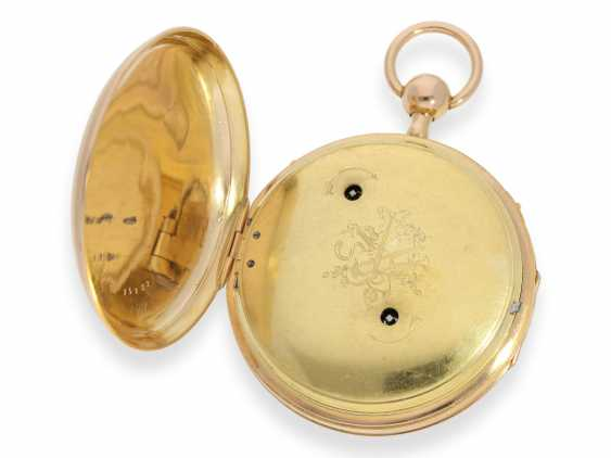 Pocket watch: a magnificent and very rare pocket watch with enamel painting, Repetition, and musical works, No. HC 15722, CA. 1820 - photo 5