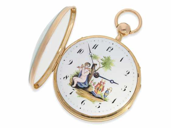 Pocket watch: a magnificent and very rare pocket watch with enamel painting, Repetition, and musical works, No. HC 15722, CA. 1820 - photo 6