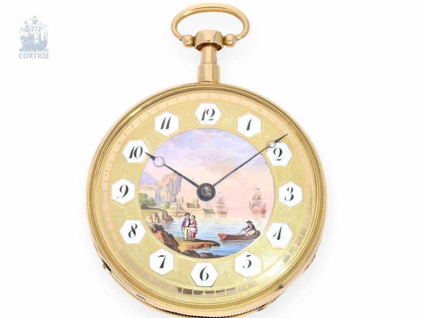 Pocket watch: fine Gold/enamel pocket watch with Repetition and Music movement, Piguet & Meylan, Geneva, circa 1820 - photo 1