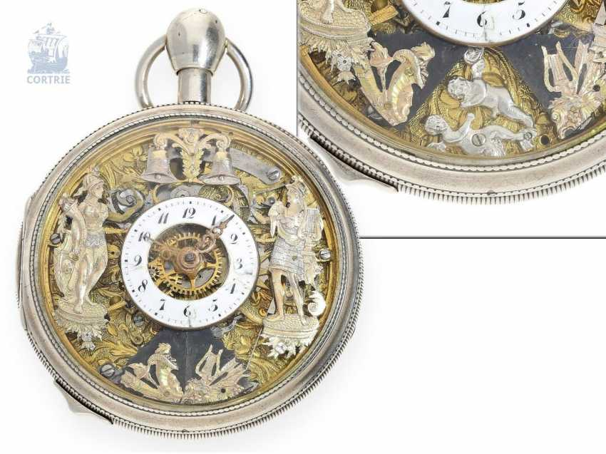 Pocket watch: extremely rare, skeletonized hammer mechanism pocket watch with Jacquemarts and additional hidden erotic automaton, Les Frères Esquivillon & De Choudens, Geneva No. 1086, 1810 - photo 1