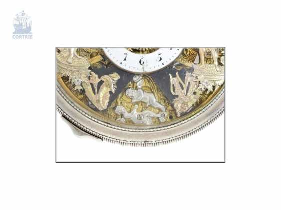 Pocket watch: extremely rare, skeletonized hammer mechanism pocket watch with Jacquemarts and additional hidden erotic automaton, Les Frères Esquivillon & De Choudens, Geneva No. 1086, 1810 - photo 3