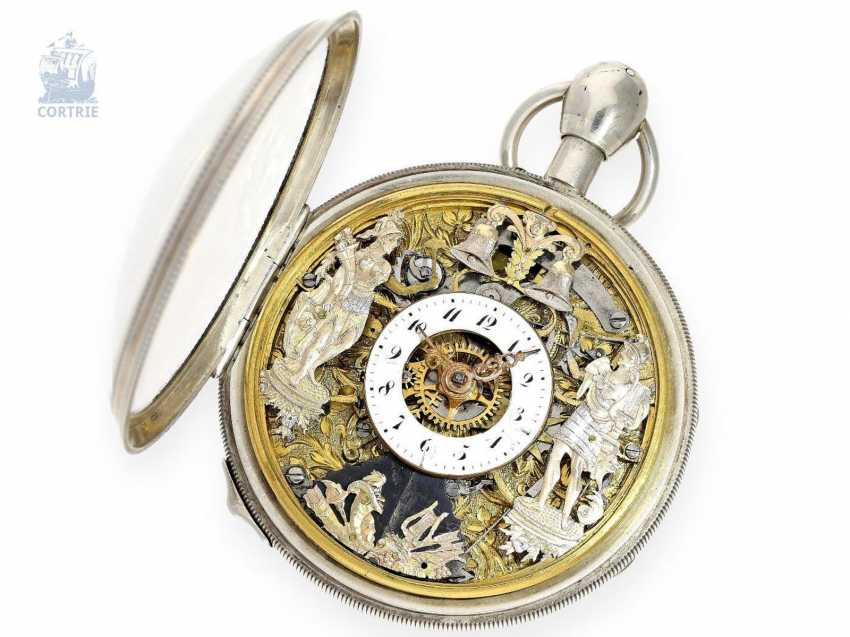 Pocket watch: extremely rare, skeletonized hammer mechanism pocket watch with Jacquemarts and additional hidden erotic automaton, Les Frères Esquivillon & De Choudens, Geneva No. 1086, 1810 - photo 5
