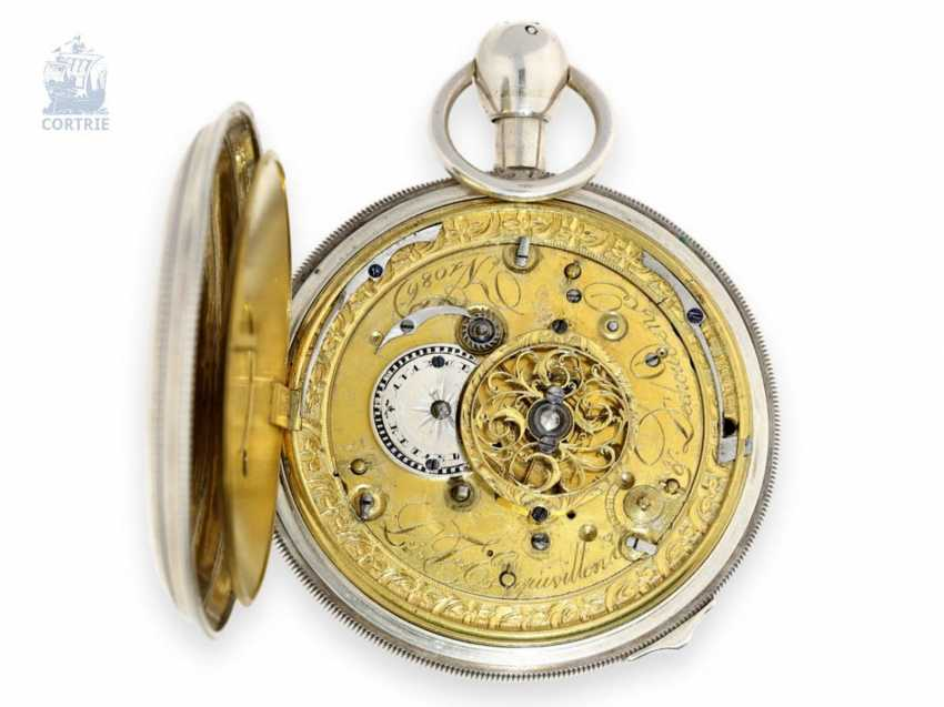 Pocket watch: extremely rare, skeletonized hammer mechanism pocket watch with Jacquemarts and additional hidden erotic automaton, Les Frères Esquivillon & De Choudens, Geneva No. 1086, 1810 - photo 6