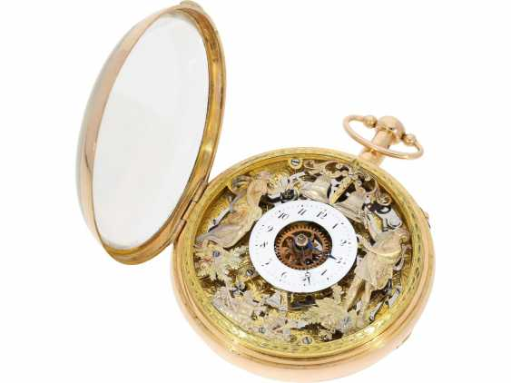 Pocket watch: important, skeletonized percussion pocket watch with Carillon-percussion and 4 machines, including hidden erotic automaton, Switzerland around 1820 - photo 4