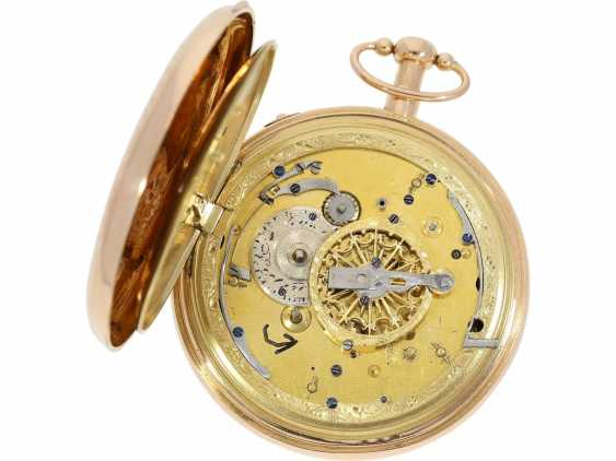 Pocket watch: important, skeletonized percussion pocket watch with Carillon-percussion and 4 machines, including hidden erotic automaton, Switzerland around 1820 - photo 6