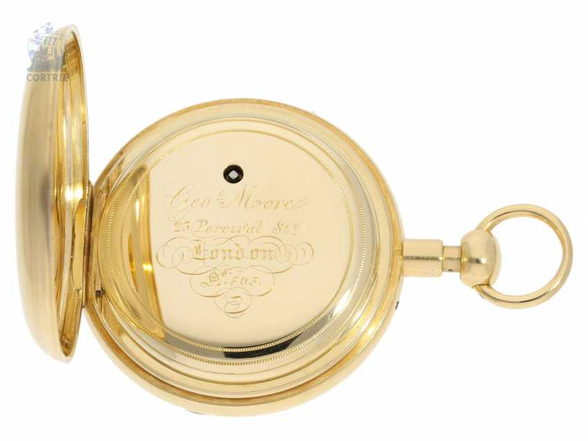 Pocket watch: rare, high-fine English Pocket chronometer with 1/8-repeater, George Moore, London, No. 505, Hallmarks London 1840 - photo 5