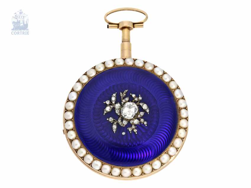 Pocket watch: important Gold/enamel pocket watch with diamond and bead trim and a rare comma inhibition, attributed to Jean-Antoine Lépine, around 1800 - photo 2