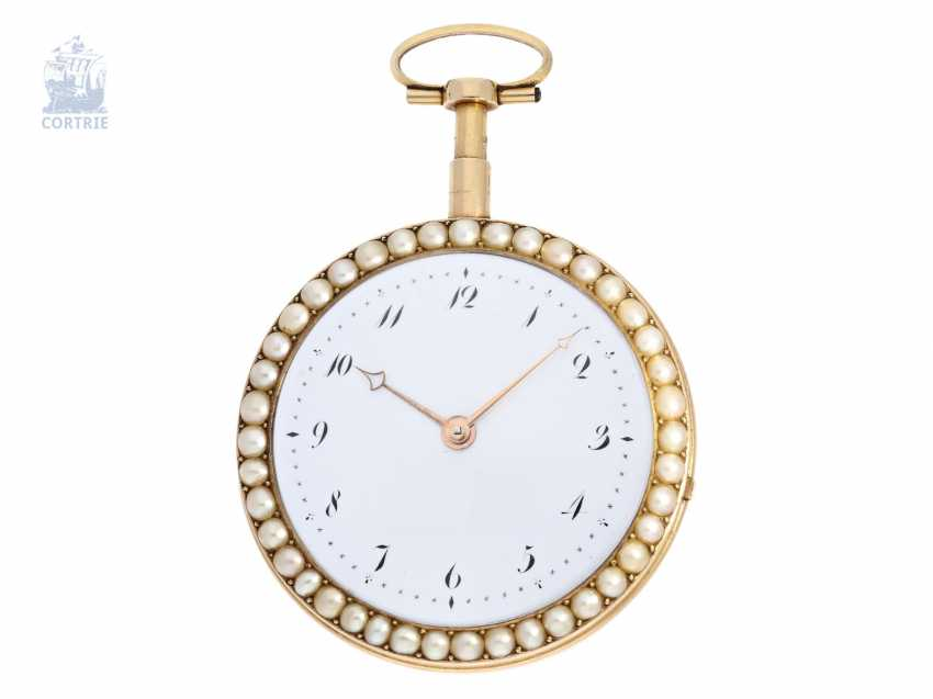 Pocket watch: important Gold/enamel pocket watch with diamond and bead trim and a rare comma inhibition, attributed to Jean-Antoine Lépine, around 1800 - photo 3