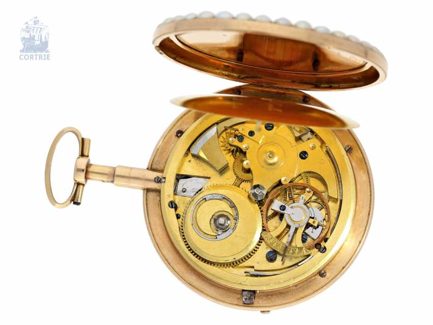 Pocket watch: important Gold/enamel pocket watch with diamond and bead trim and a rare comma inhibition, attributed to Jean-Antoine Lépine, around 1800 - photo 4