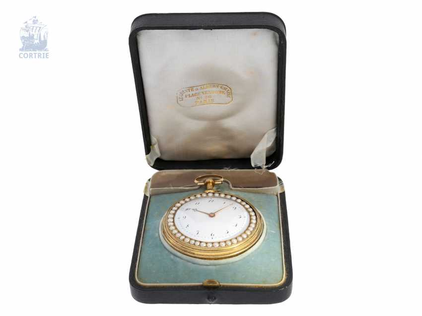 Pocket watch: important Gold/enamel pocket watch with diamond and bead trim and a rare comma inhibition, attributed to Jean-Antoine Lépine, around 1800 - photo 6