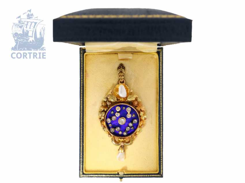 Brooch/machine: Gold/enamel pendant/brooch with machine and diamond finishing, probably Tardy & Fils Geneva for Marcks & co. Bombay, by 1860, original box - photo 2