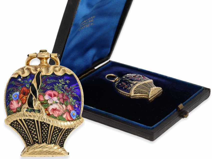 "Pocket watch/Anhängeuhr: extremely rare Gold/enamel Formuhr with Precious stones ""flower basket"" and a heart-shaped work, of Museum quality condition with original box, approx. in 1850 - photo 1"