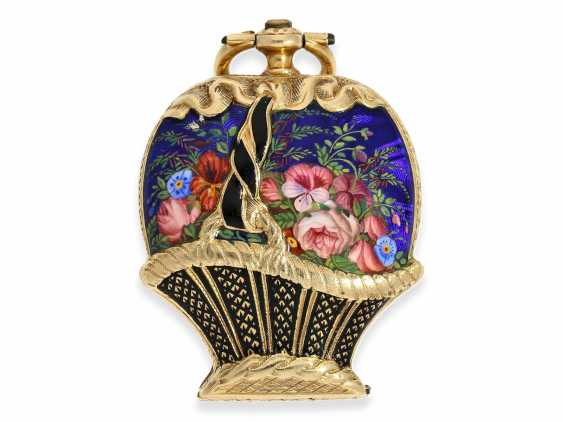 "Pocket watch/Anhängeuhr: extremely rare Gold/enamel Formuhr with Precious stones ""flower basket"" and a heart-shaped work, of Museum quality condition with original box, approx. in 1850 - photo 2"