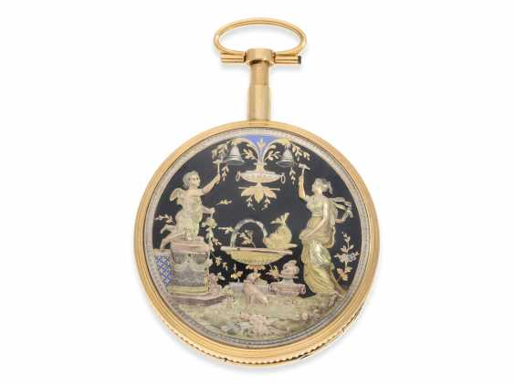 """Pocket watch: extremely rare, Museum-like pocket watch with back, multi-coloured gold automaton """"The fountain"""", probably Geneva, circa 1820 - photo 1"""