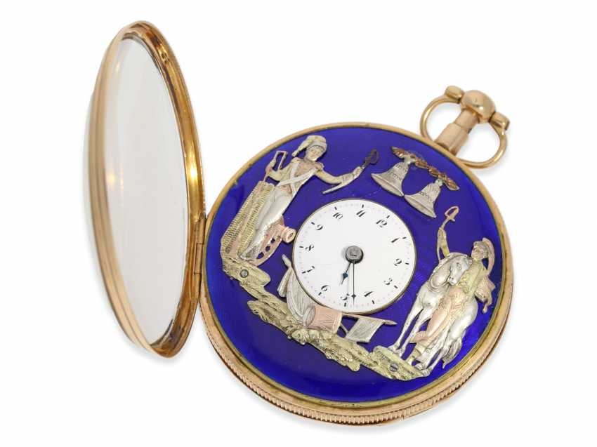 Pocket watch: extremely rare, very serious rose-gold-plated figure, automaton Jacquemart with military figures, No. 2934, CA. 1810 - photo 3