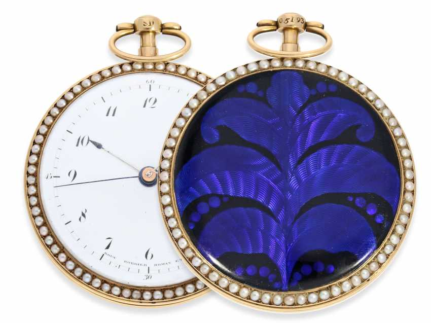 Pocket watch: an exquisite and very rare Gold/enamel pocket watch with jumping Central second, Roux, Bordier, Roman & Cie, Geneva, No. 5193, produced for the Chinese market - photo 1