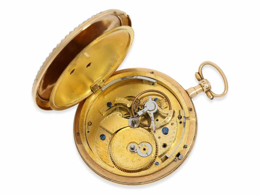 Pocket watch: an exquisite and very rare Gold/enamel pocket watch with jumping Central second, Roux, Bordier, Roman & Cie, Geneva, No. 5193, produced for the Chinese market - photo 3