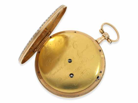 Pocket watch: an exquisite and very rare Gold/enamel pocket watch with jumping Central second, Roux, Bordier, Roman & Cie, Geneva, No. 5193, produced for the Chinese market - photo 4
