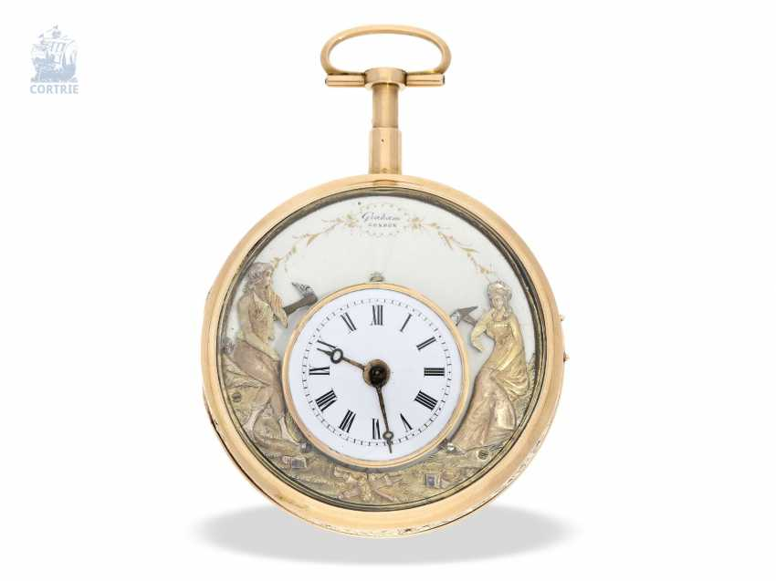 Pocket watch: rarity, only known to us figure automaton Jacquemart, with a coaxially stacked arrangement of the bell and dial, Switzerland Liege for the English market, around 1800 - photo 1